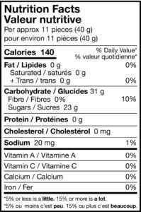 tart and sweet orange swirls nutrition facts