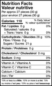 jelly belly lovers mix nutrition facts