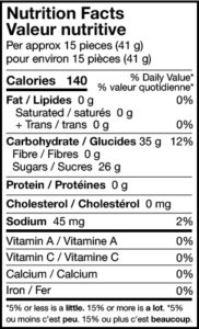 sour bobcats nutrition facts
