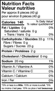 sour cherry cola bottles nutrition facts